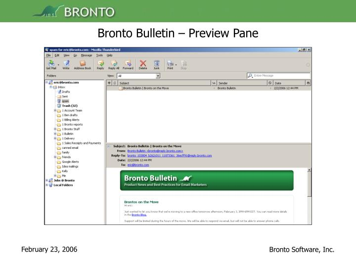 Bronto Bulletin – Preview Pane