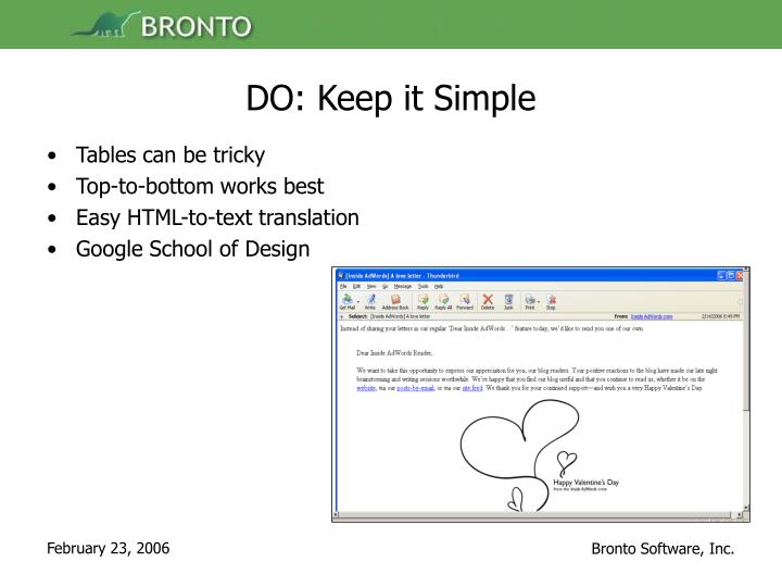 DO: Keep it Simple