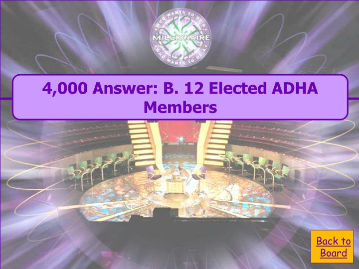 4,000 Answer: B. 12 Elected ADHA Members