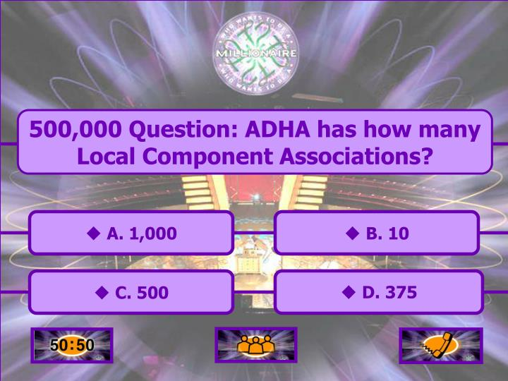 500,000 Question: ADHA has how many Local Component Associations?