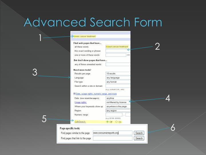 Advanced Search Form