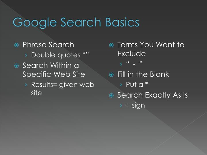 Google search basics