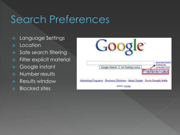 Search Preferences