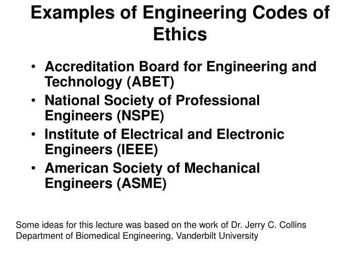 Examples of Engineering Codes of Ethics