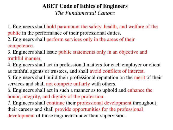 ABET Code of Ethics of Engineers