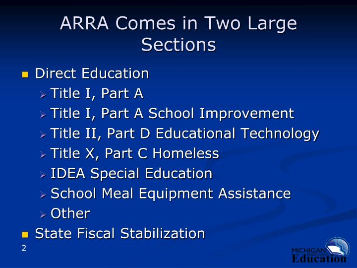 Arra comes in two large sections