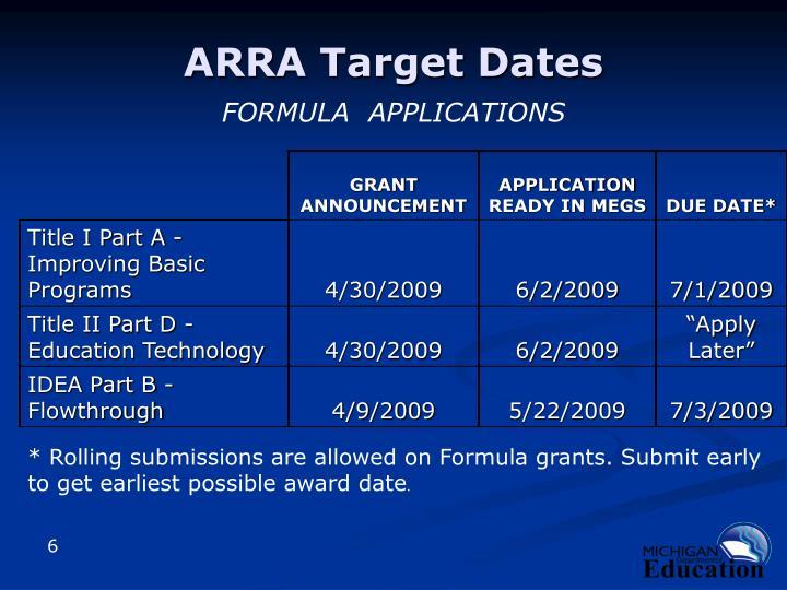 ARRA Target Dates