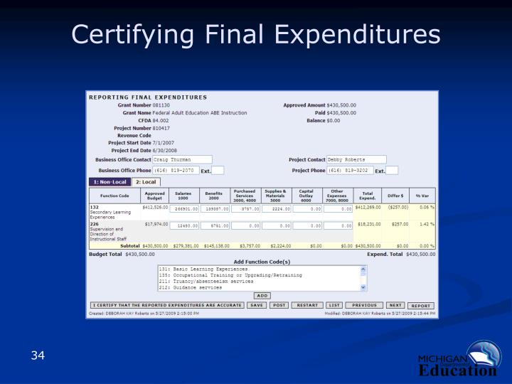 Certifying Final Expenditures