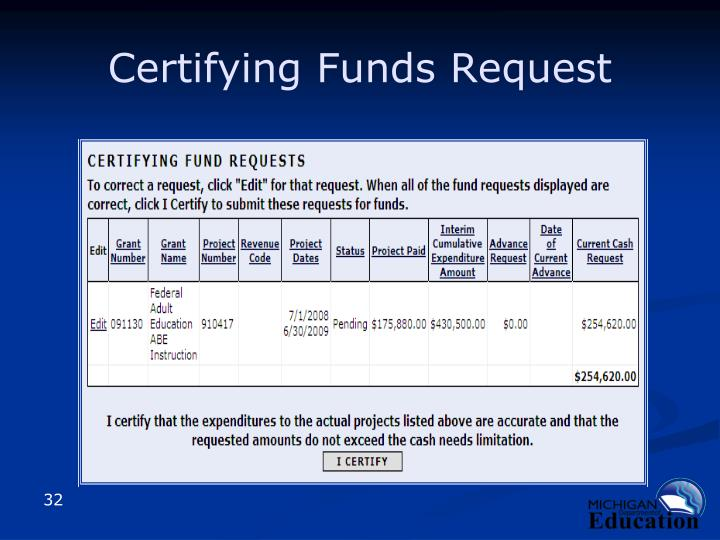 Certifying Funds Request