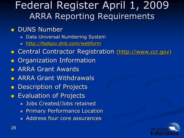 Federal Register April 1, 2009