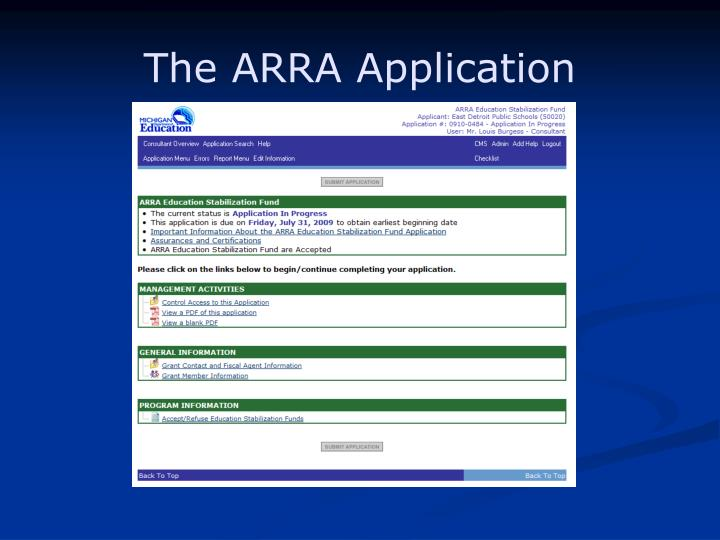The ARRA Application
