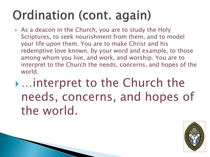 Ordination (cont. again)