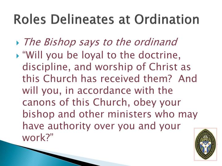 Roles Delineates at Ordination