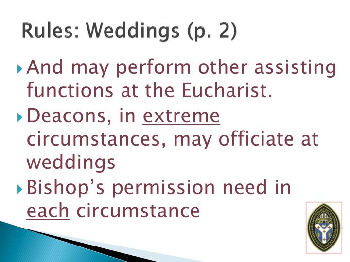 Rules: Weddings (p. 2)