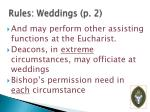 rules weddings p 2