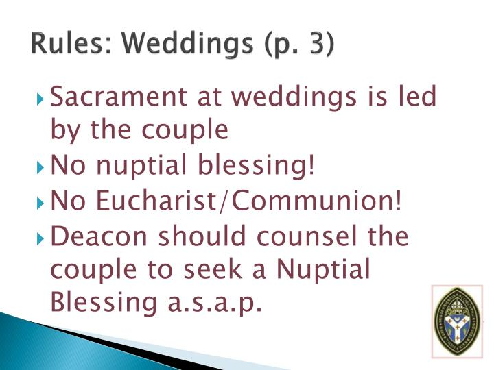 Rules: Weddings (p. 3)