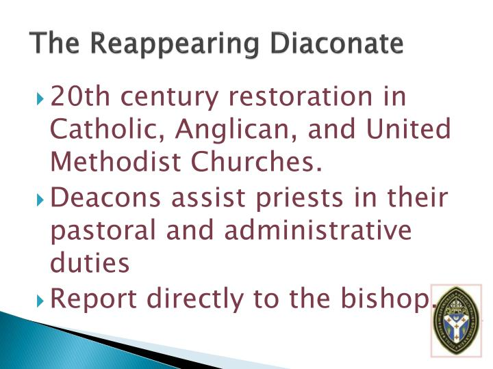 The Reappearing Diaconate