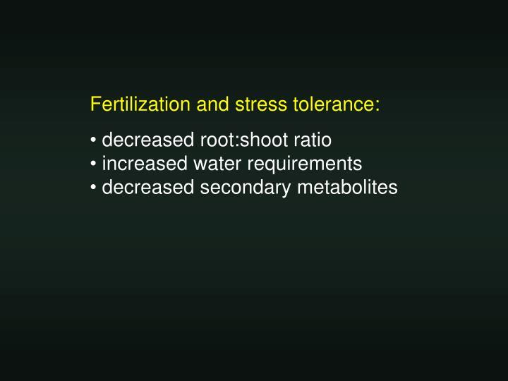 Fertilization and stress tolerance:
