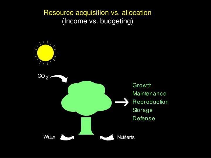 Resource acquisition vs. allocation