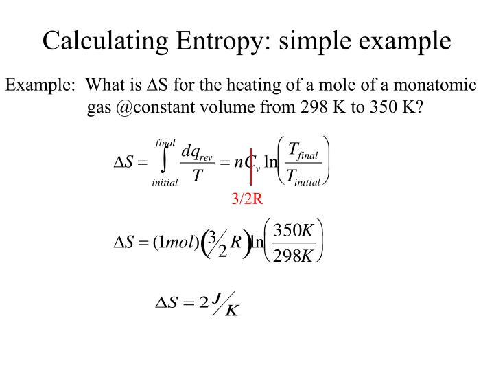 Calculating Entropy: simple example