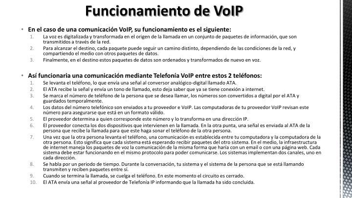 Funcionamiento de VoIP