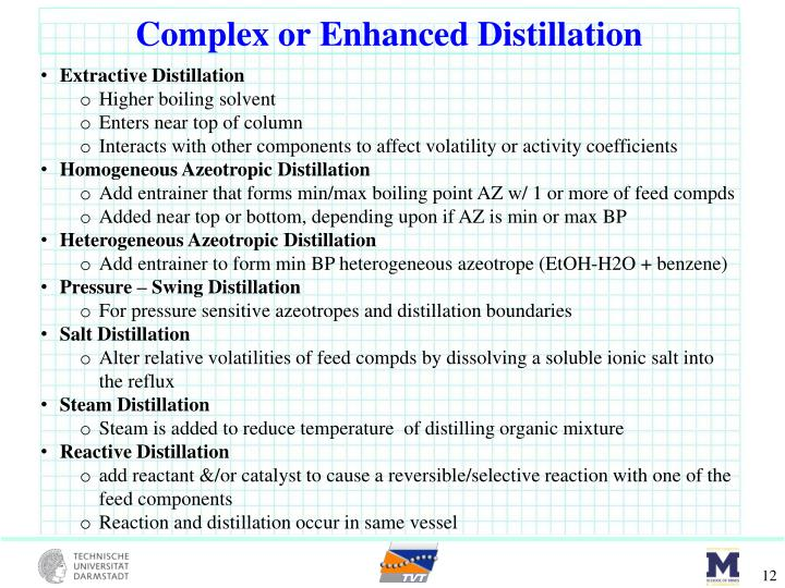 Complex or Enhanced Distillation