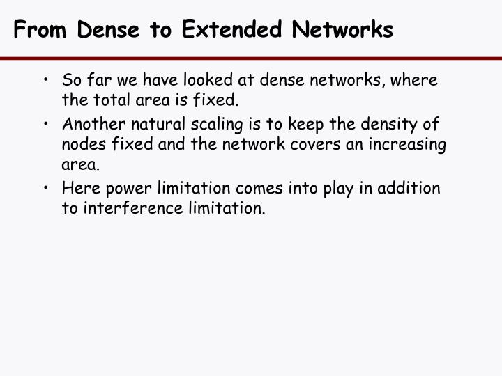 From Dense to Extended Networks