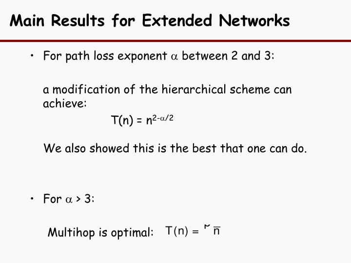 Main Results for Extended Networks