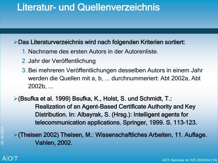 Literatur- und Quellenverzeichnis