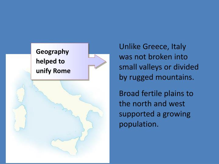 Unlike Greece, Italy was not broken into small valleys or divided by rugged mountains.