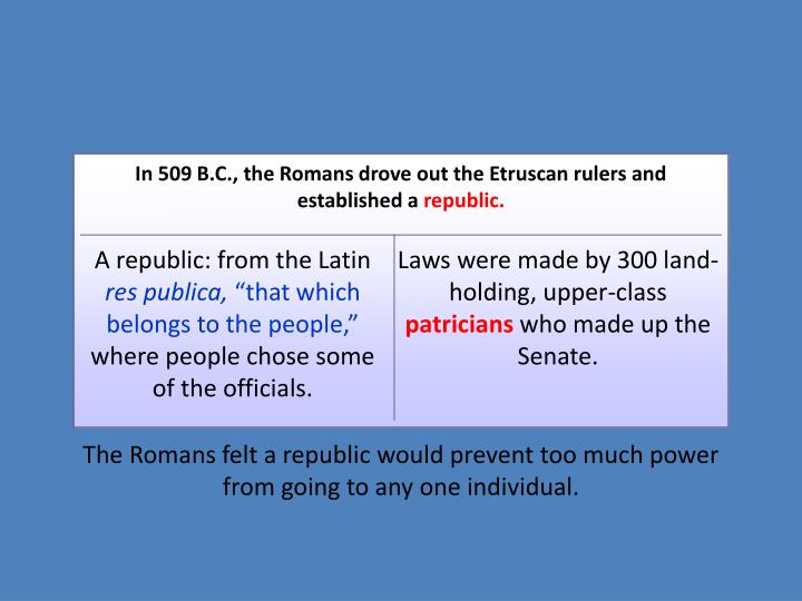In 509 B.C., the Romans drove out the Etruscan rulers and established a