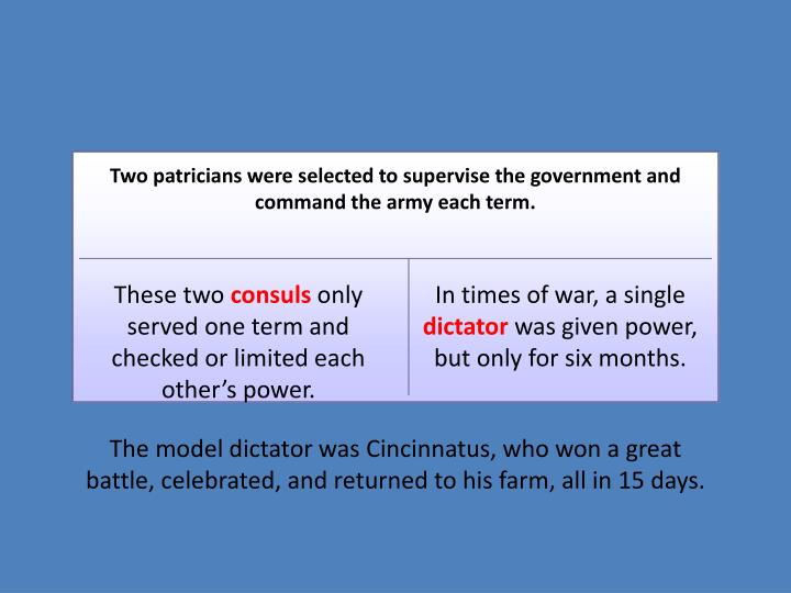 Two patricians were selected to supervise the government and command the army each term.