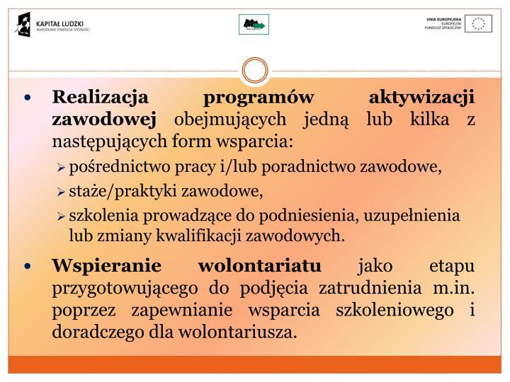 Realizacja programów aktywizacji zawodowej
