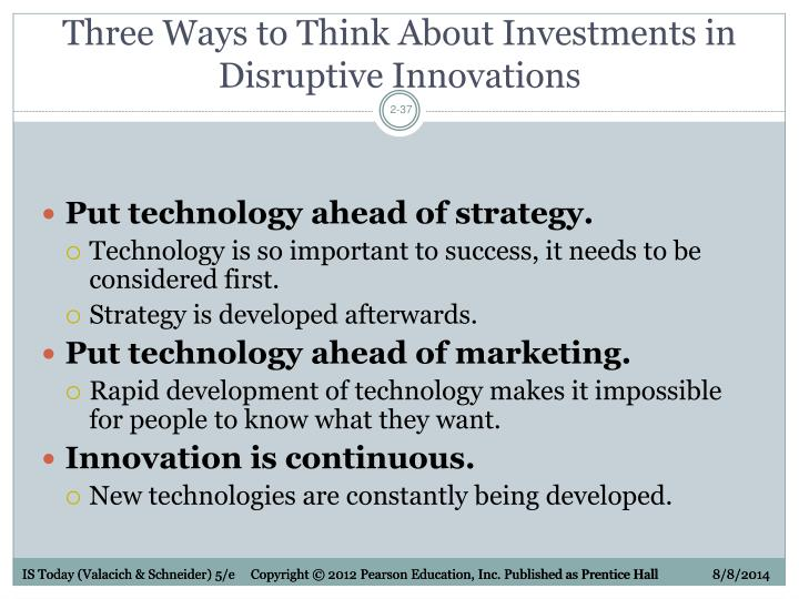 Three Ways to Think About Investments in Disruptive Innovations