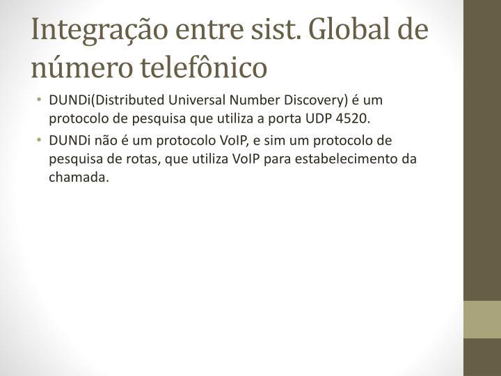 Integração entre sist. Global de número telefônico