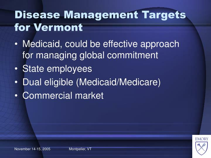 Disease Management Targets for Vermont