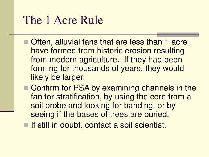 The 1 Acre Rule