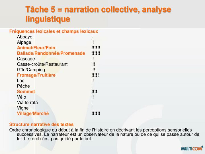 Tâche 5 = narration collective, analyse linguistique