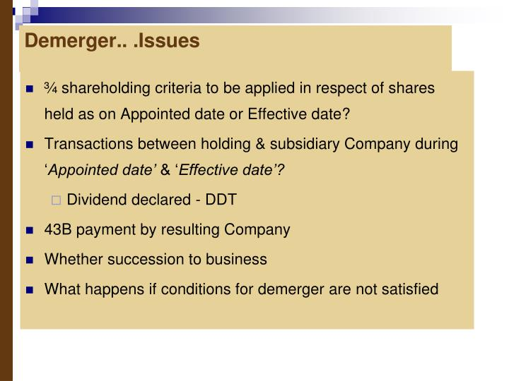 Demerger.. .Issues
