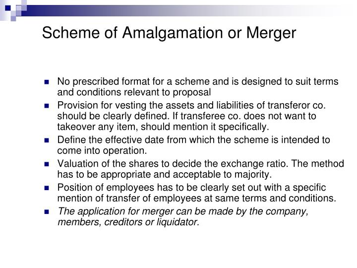 Scheme of Amalgamation or Merger