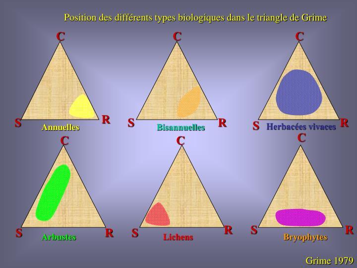 Position des différents types biologiques dans le triangle de Grime