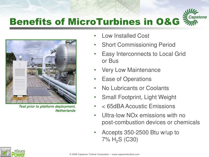 Benefits of MicroTurbines in O&G
