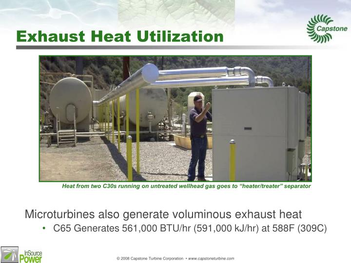 Microturbines also generate voluminous exhaust heat