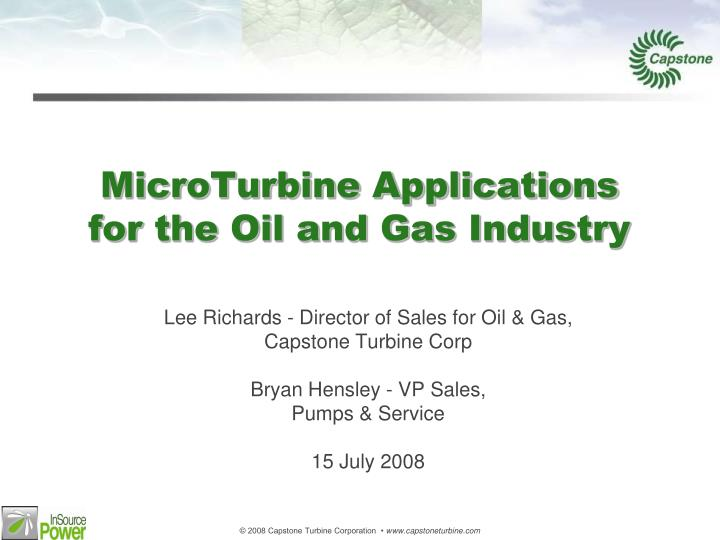 Microturbine applications for the oil and gas industry