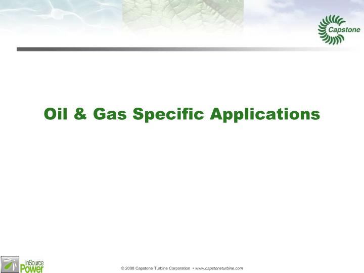 Oil & Gas Specific Applications