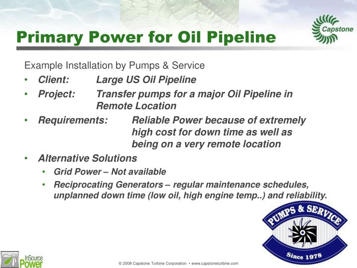 Primary Power for Oil Pipeline