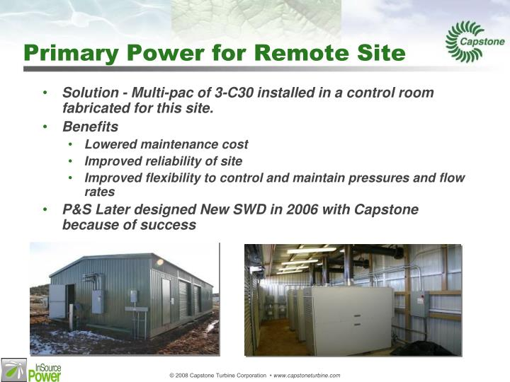 Primary Power for Remote Site