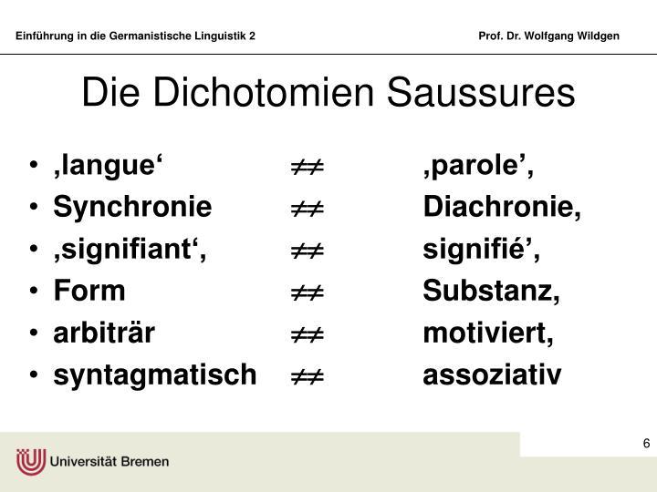 Die Dichotomien Saussures