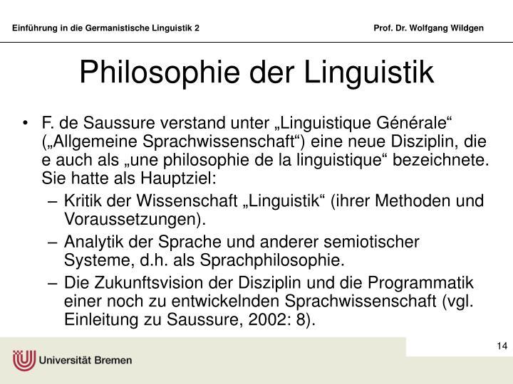 Philosophie der Linguistik