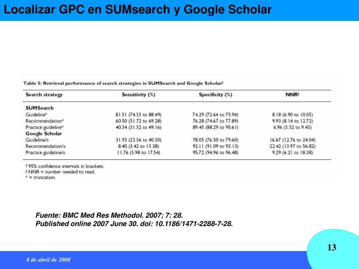 Localizar GPC en SUMsearch y Google Scholar